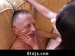 brunette-old and young-old man-penetration